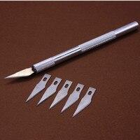 Non Slip Metal Scalpel Knife Tools Kit Cutter Engraving Craft Knives 6 Pcs Blade Mobile Phone