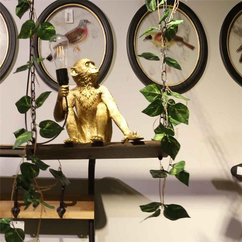 Star wish Hemp Rope Monkey  Pendant Light  Art  Nordic Replicas Resin Hanging Monkey Lamp for shop bar decoration