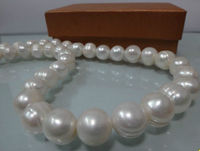 HUGE 11 12MM NATURAL SOUTH SEA WHITE BAROQUE PEARL NECKLACE ^^^@^Noble style Natural Fine jewe FREE SHIPPING