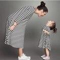 Полосатый родитель - ребенок одежда родства платья хлопка o-образным вырезом цельный платье для матери и дочери