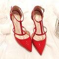 Nuevos Zapatos Del Verano Mujeres Bombas Elegantes Zapatos de tacón alto de Charol En Punta T Correa Sandalias de tacón de Aguja Talón Fino Hueco G1731