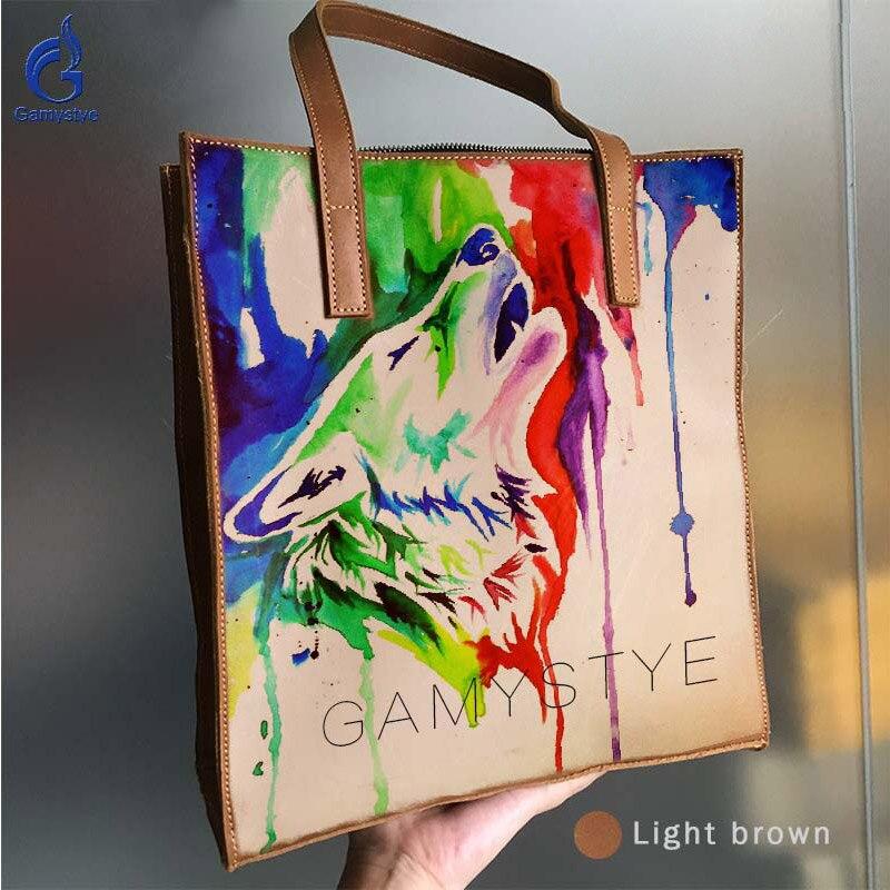 GAMYSTYE Printed Art Colored Graffiti Roaring Wolf Genuine Leather Bags For Women Handbags Female Bag Shoulder Bag Custom Gift