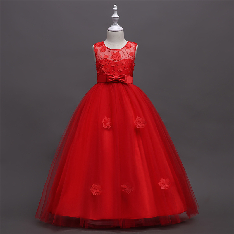 Red Prom Gowns Children Clothing Kids