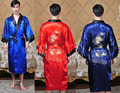 Free Shipping!Reversible Double-Face Chinese Men's Silk Satin Embroider Dragon Robe Gown With Belt M L XL XXL XXXL  MR004