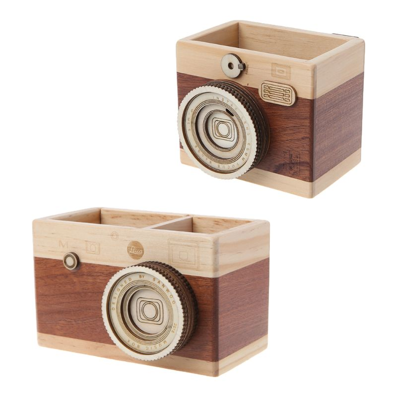Creative Desk Organizer Camera Pattern Wooden Pen Pencil Case Holder Stand Desktop Sundries Storage Box Office Accessories