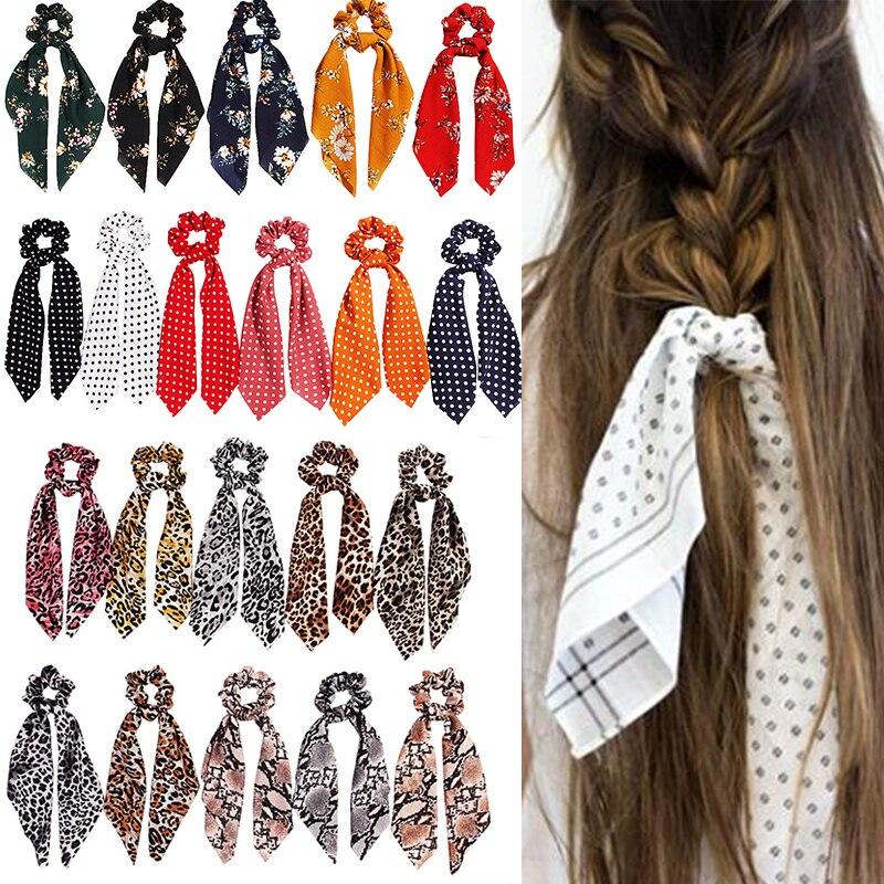 Cheetah Scarf Ribbon Snake Skin Printed Chiffon Square Scarf Leopard Print Scrunchie Hair Tie Women Hair Scarf LONG TAIL SCARF