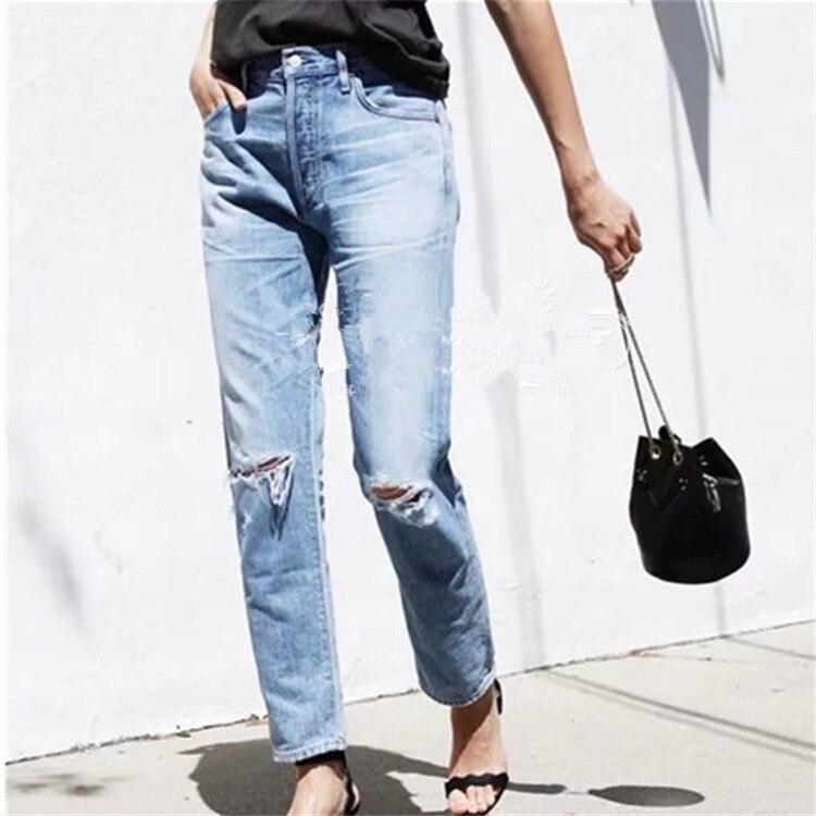 Blue Agujeros Rodilla De Jeans Estilo Deshilachados Mujeres Novio Lavado Pantalones Capri Mediados wqCnS6fPIx