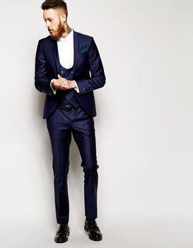 Classic Men Suits Groomsmen Wedding Tuxedo Bespoke Best Man Suits Navy Blue Men Formal Occasion Work Wear(Jacket+Pants+Vest+Tie)