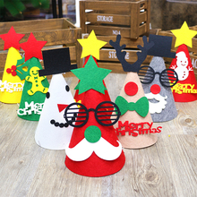 New Creative DIY Felt Cloth Merry Christmas Hats For Children Gifts Colorful Elk Snowman Santa Claus