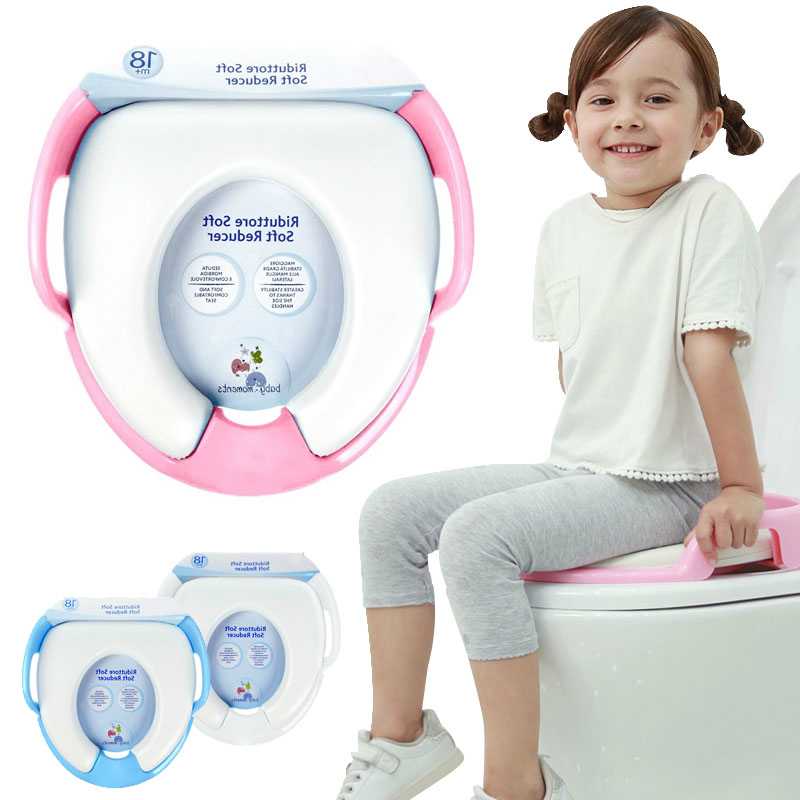 CACX Baby Girls Potty Training Safe Seat With Armrests For Children 2-8 Years Kids Plastic Soft Toilet Seat Mat 18M+ Boys Toilet