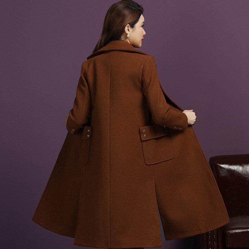 Longue Dames Slim Beige Veste De Poches Lady caramel Manteaux Laine Manteau Et Bouton Couverte rouge D'hiver col Office Turn 6CEwqa