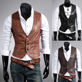 Men's leather PU vest fashion joker blazer plus size suits casual vests single breasted slim fit leather waistcoat mens tops