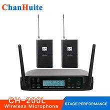 Sistema de Microfone UHF sem fio De Lapela Headset Vocal Sistema de Microfone Profissional Microfone Sem Fio para Performance de Palco Bar de karaoke Em Casa