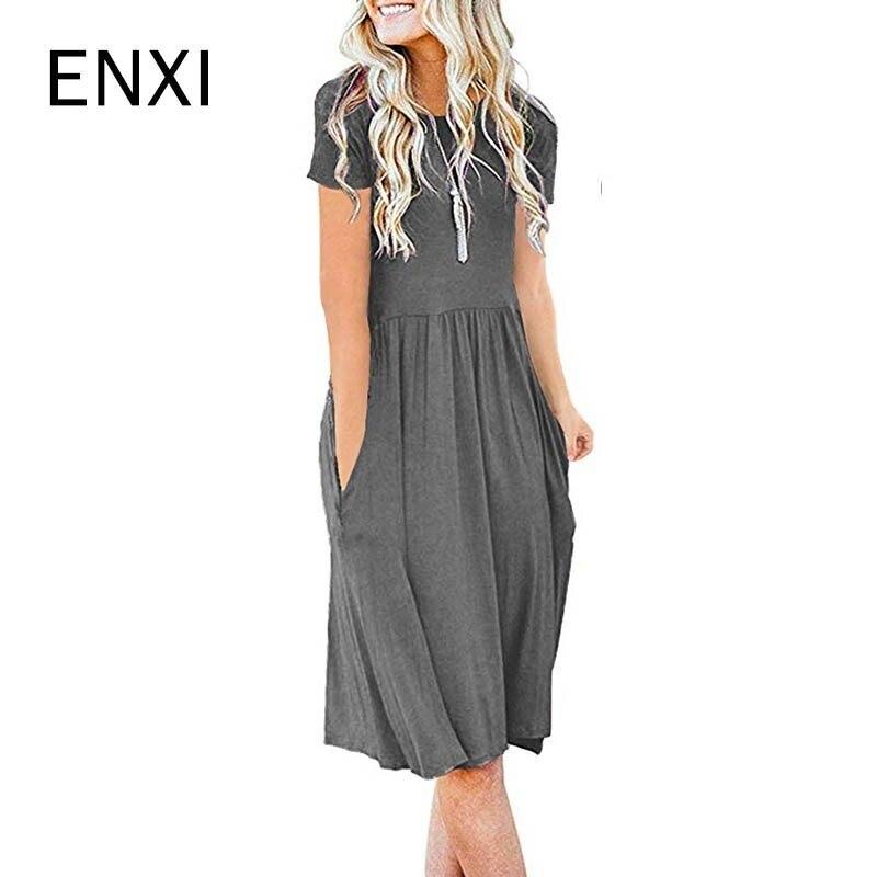 ENXI 2019 Summer 10 Colours Maternity Dresses Women's Short Sleeve Pocket High Waist Fold Leisure Time Horn Dress
