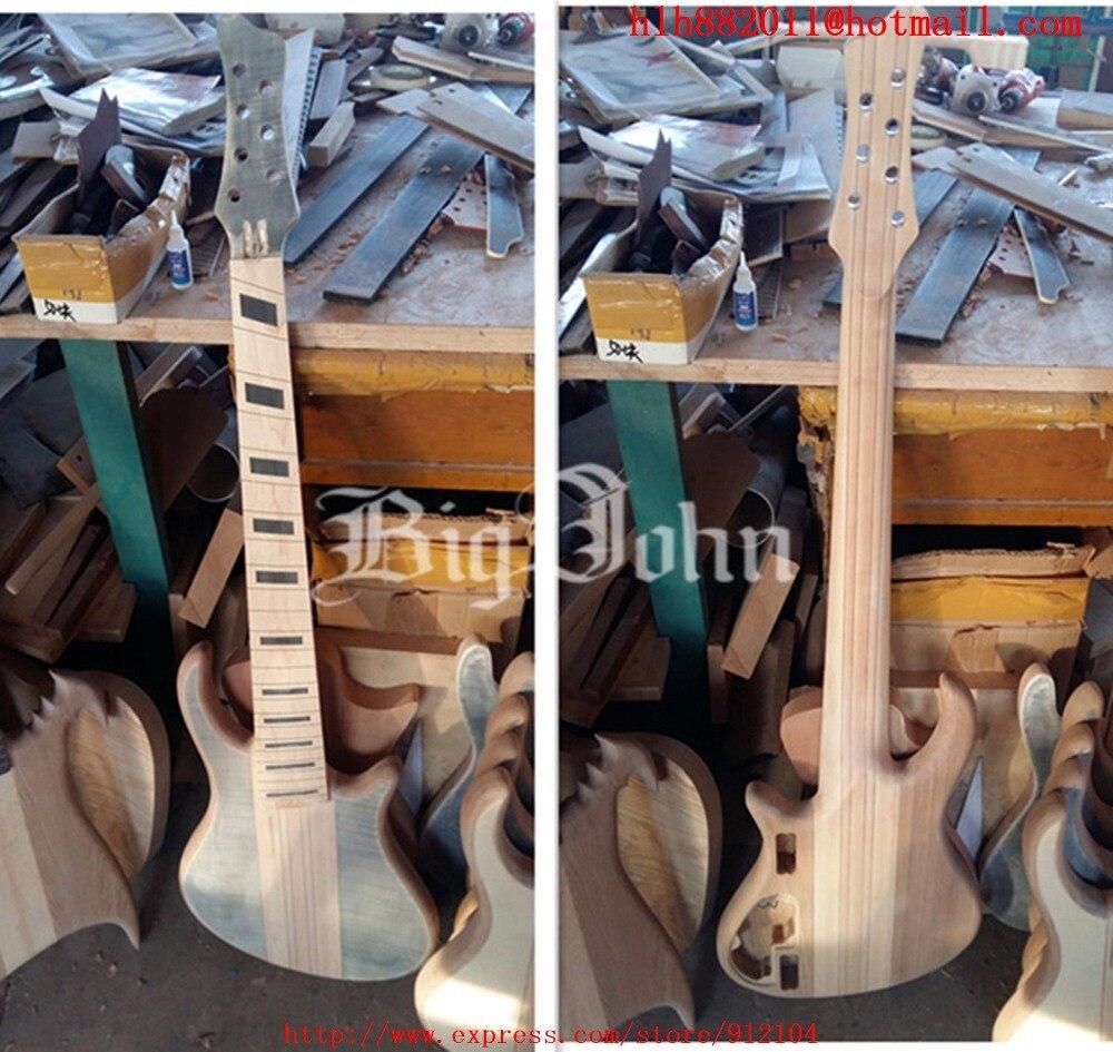 Nouveau Big John semi-fini 7 cordes fanned guitare basse électrique avec corps d'orme sans matériel aucun F-3404 de peinture