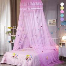 Mežģīņu kupeja bērnu nojumes apaļo piekārtiem moskītu tīkla meiteņu istabas dekoru gultiņas debesīs gultas nojume Gultas aizkaru telts pieaugušajiem L50