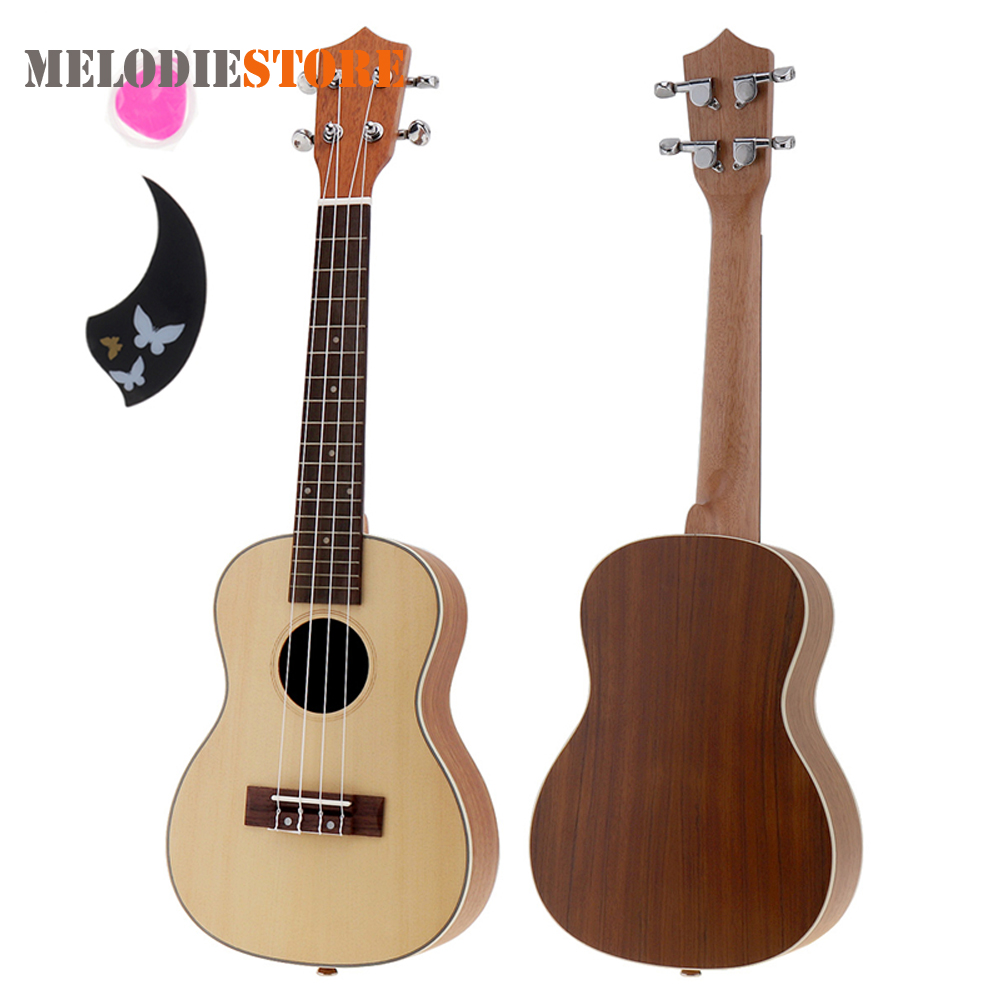 23 Inch 18 Fret Concert Ukulele 4 String Acoustic Cutaway Guitar Spruce Wood Ukelele Hawaii Guitarra with Pick and String high quality solid wood guitar 41 inch spruce wood panel acoustic guitar guitarra free shipping