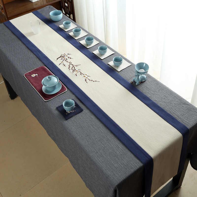 Традиционный китайский стиль ремесла дзен ручная вышивка чайная посуда коврики чайная церемония настольная дорожка натуральный лен чайные салфетки Декор