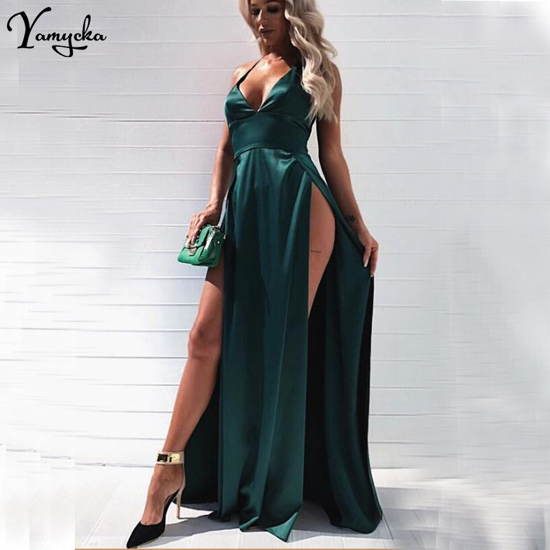 c536917b3c Summer Sexy Red Pink Long Dress Women befree Backless Satin Christmas V  neck Party Dresses Night club Maxi Dress Vestido clothes