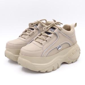 Image 2 - Baskets en cuir PU à plateforme pour femmes, blanc, abricot, 2020 printemps automne, mode chaussures décontractées