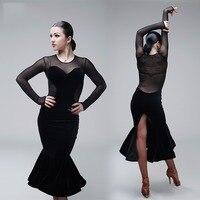 2017 New Sexy Woman Lady Latin Dance Dress Black Latest Style Performance Wear Lady Latin Dance