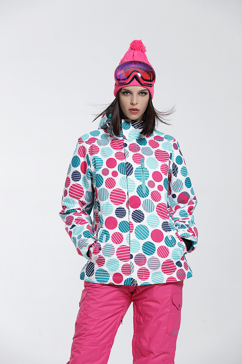 299f1319 Gsou Snow winter Ski Jacket women clearance SALE womens skiwear ladies  snowboard jackets skiing clothes colorful dots