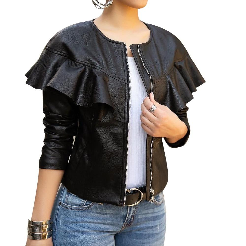 2019 Spring New Ladies   Leather   Jacket Women Long Sleeve Zipper Ruffles O-Neck PU Coat Slim Black Motorcycle Jackets