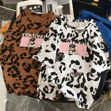 T-shirt beautiful leopard print female summer casual short-sleeved O-neck t shirt ladies M harajuku top