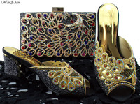 Soft Shoes And Clutch Bag Top Quality Black Italian Shoes and Bag Sets Decorated With Peacock Rhinestone WENZHAN Latest B85 15