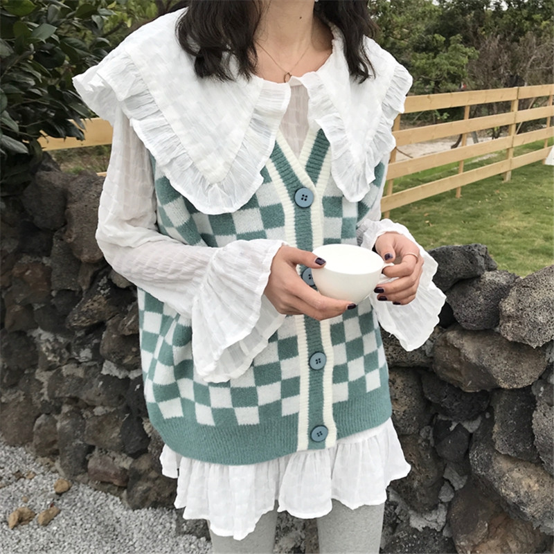 Fashion Women 2PC Shirt Sets Sweet Peter Pan Collar White Chiffon Blouse+Knitted Tank Vests Student Girl Shirts&Sweater Suits