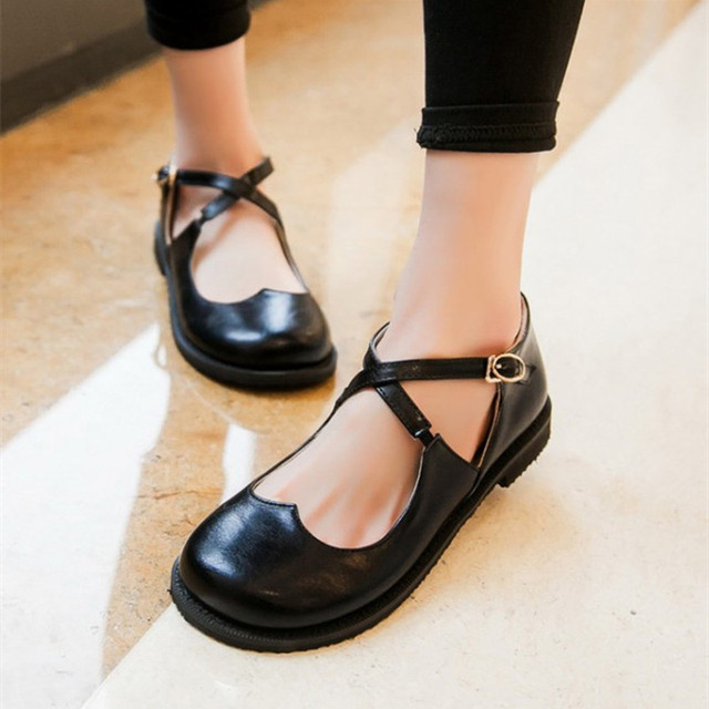 Retro Sweet Womens Round Toe Casual Flats Buckle Cross Strap Mary Jane Girls Ballet Flats Shoes Plus Size Flat dance Shoes Doll