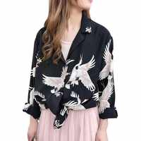 c5edee11ef965db 2019 для женщин печати блузка с длинными рукавами рубашки для мальчиков V  образным вырезом весенние модные