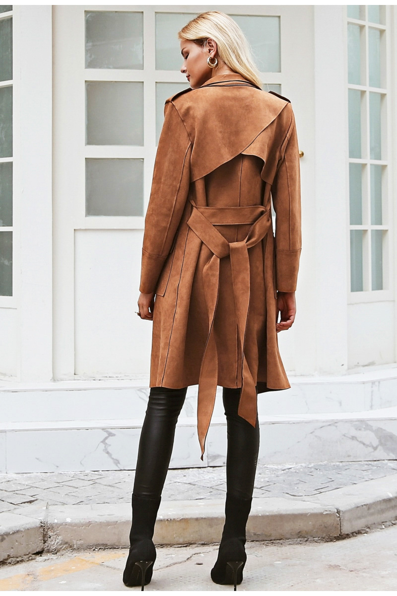 Simplee Turn down collar sash suede trench coat Casual leather pocket long women autumn coat Winter warm outwear overcoat female 6