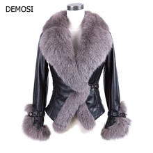 2019 New Winter Real Fur Coat Women Sheepskin Genuine Leather With Large Fox Collar Belt Short Slim Fit Warm Down Coats V-Neck(China)