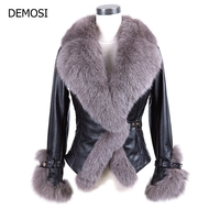 2019 New Winter Real Fur Coat Women Sheepskin Genuine Leather With Large Fox Collar Belt Short Slim Fit Warm Down Coats V Neck