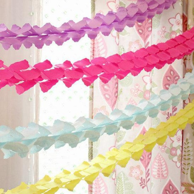 2pcsset Pure Color Hanging Paper Garlands String Chain Wedding