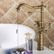 Grifo de lavabo de cobre completo, caliente y frío C vintage, grifo de lavabo de mesa antiguo, grifo de un solo agujero
