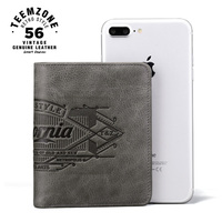 teemzone California Style Men Leather Cowhide Bifold Vertical Wallet Credit Card Holder Cash Receipt Holder ID Window Q802