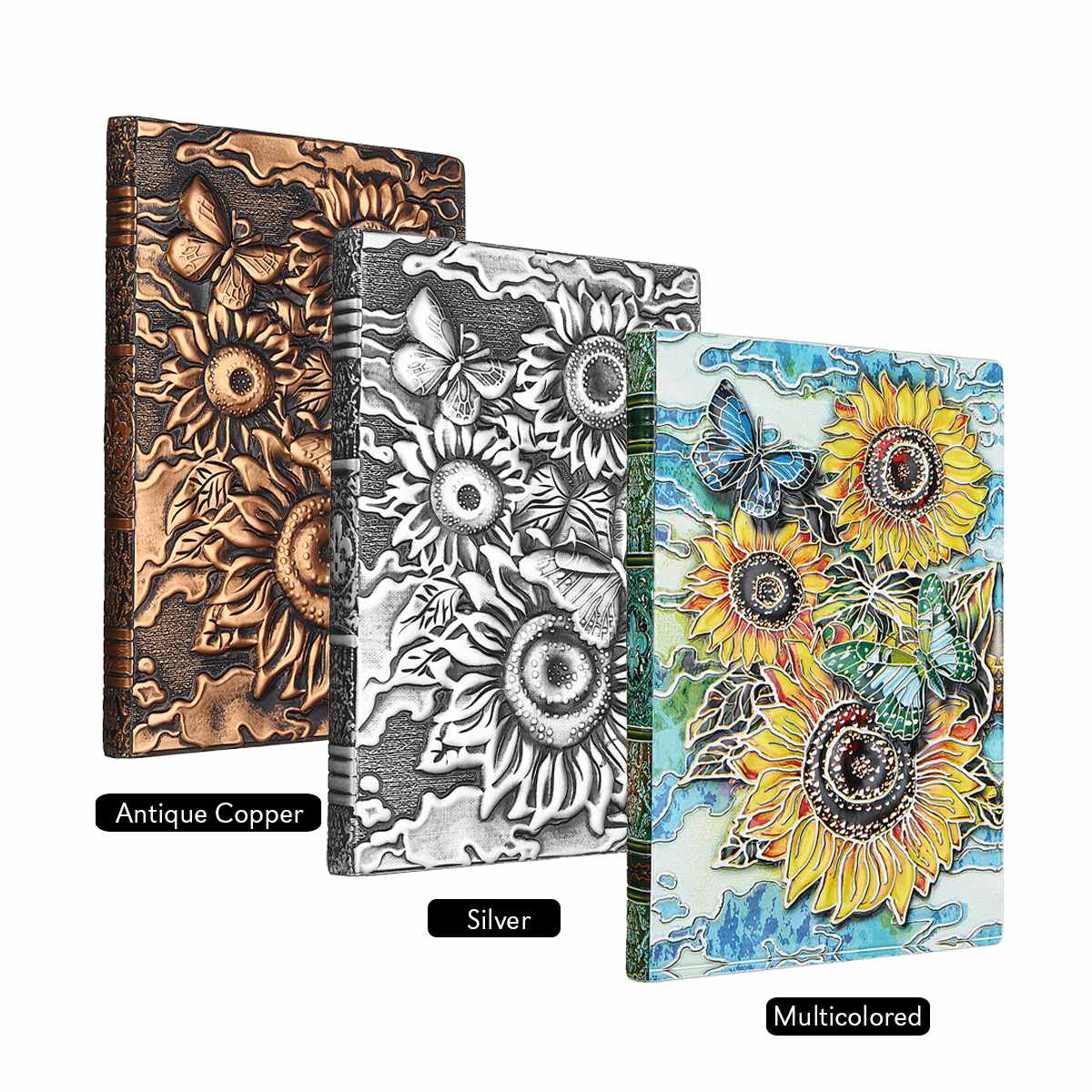 Vintage 3D Printing Embossed Notebook Sunflower Travel Diary Notebook Journal Leather Gift Bible Book Handcraft