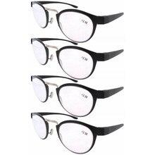 R11042 Eyekepper черные линзы, дужки серебристого цвета, набор из 4 шт. Пластик Ретро Винтаж черные очки для чтения+ 1,0/1,25/1,5/1,75/2,0/2,25/2,5/3,0/3,5