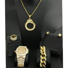 Diamond Men Iced Out Cuban Hip Hop Watch &Necklace & Bracelet &Earrings &ring Combo Set Diamond Pendant Fashion Band men(China)