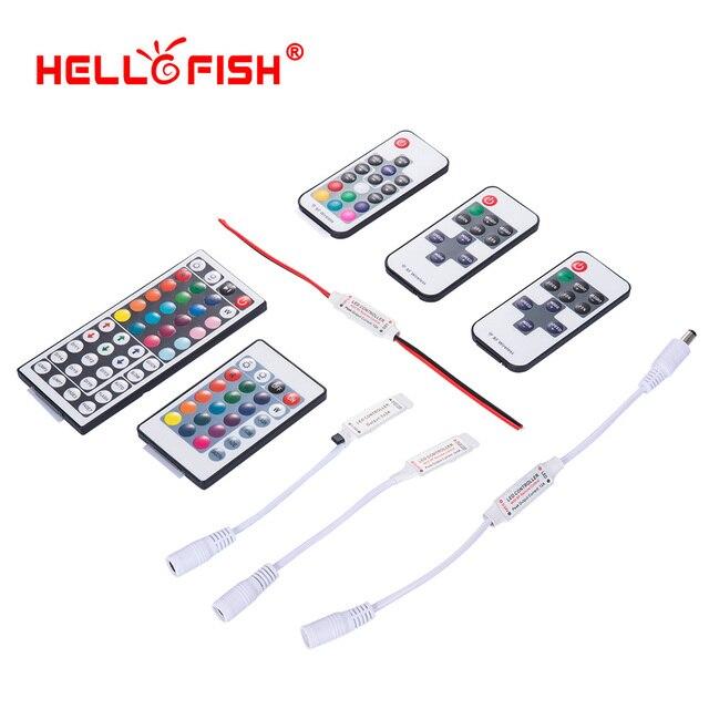 RGB LED strip mini controller dimmer IR Infrared RF Wireless Remote 44 24 17 key Hello Fish