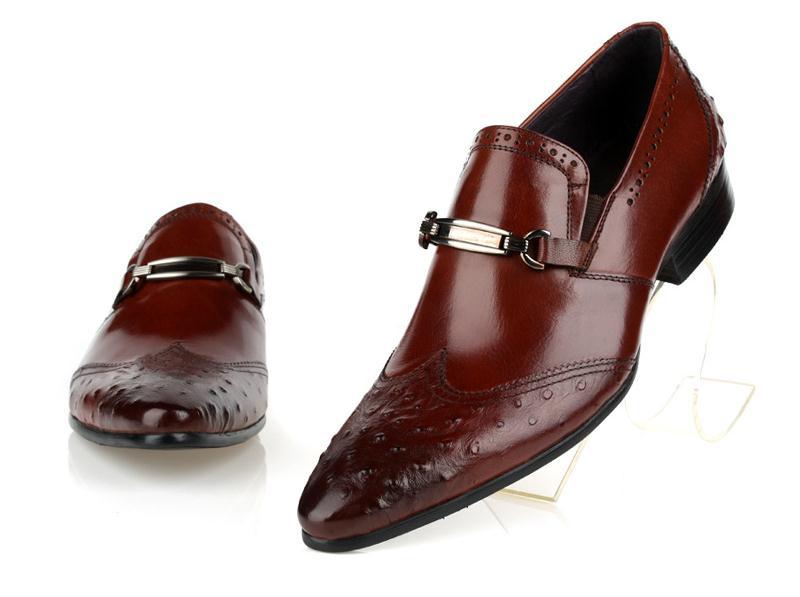 Casamento Padrão red Homem Black Sapatos Homens Moda 10 Brown De Trabalho Couro Grau Dos Escritório Qualidade Genuíno Avestruz Tamanho Alto Vestido Do dwPAq