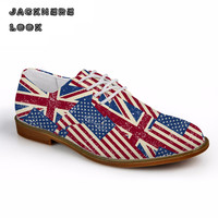 JACKHERELOOK Casual Men Synthetic Leather Oxford Shoes Fashion UK USA Flags Puzzle British Style Mens Flat