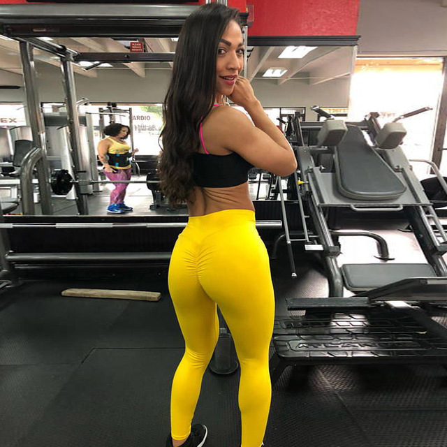 Women High waist Fitness Workout   Leggings   2018 New yellow orange red blue colors Fitness   leggings
