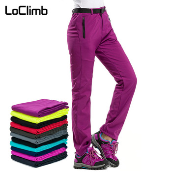 LoClimb Women's Winter Hiking Pants Outdoor Sports Fleece Softshell Trousers Mountain/Ski/Trekking Waterproof Pants Women AW195 ray grace winter outdoor trekking hiking softshell pants women waterproof mountain climbing thermal trousers female pantalon