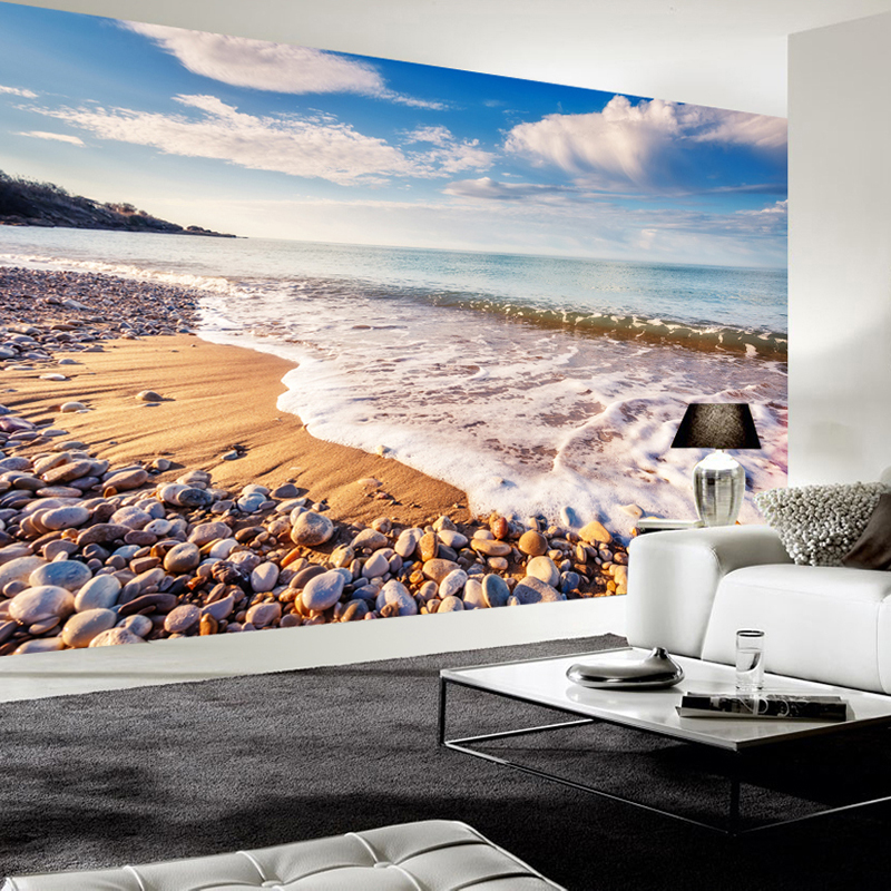 Large Custom Mural Wallpaper Modern 3D Beach Waves Stones Nature Landscape Living Room Bedroom Wall Decoration Murale Painting