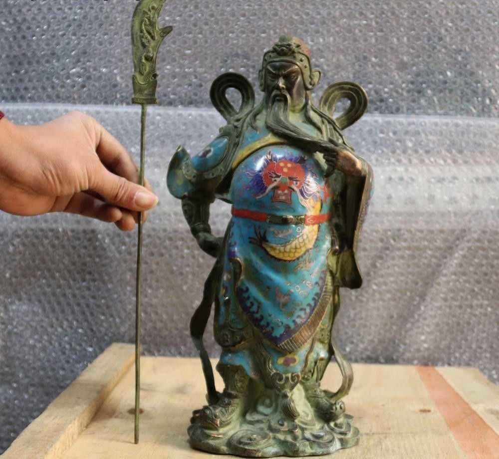 Фото Народная старый с перегородчатой эмалью медный Бронзовый Guangong guan Gong Yu Бог войны