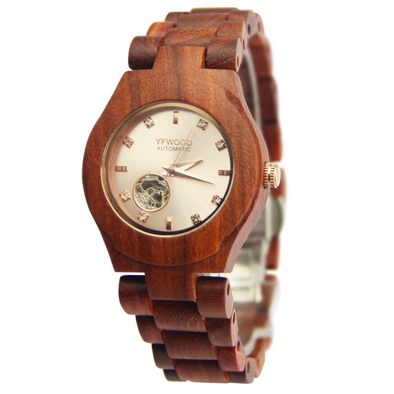 ФОТО 2017 New Fashion Luxury Women Watches Wooden Mechanical Business Clock Ladies Casual Wrist Watch Relogio Feminino