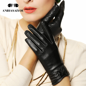 Autumn leather gloves women winter crafts shoes bow tie color genuine -L101